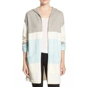Vince Camuto Striped Cardigan Sweater Hooded Small